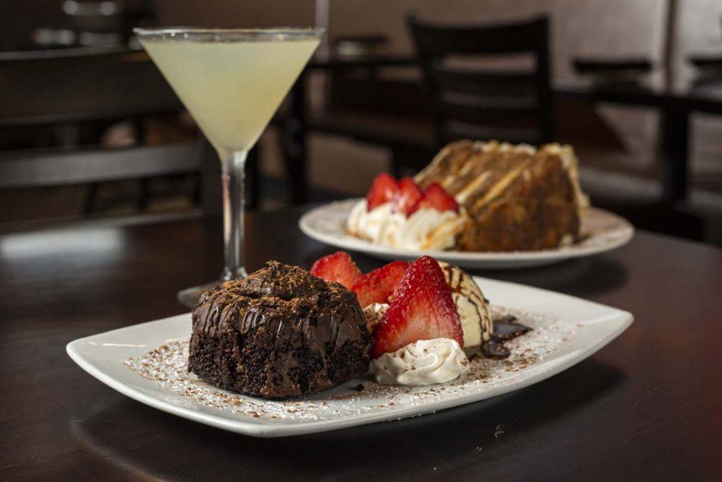 Chocolate Lava Cake and Carrot Cake desserts with lemon drop martini.